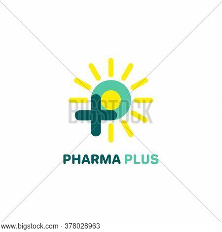 P Logo, P With Plus And Sun Logo. Medical Logo