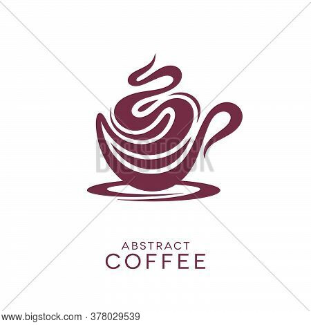 Abstract Coffee Cappuccino Or Hot Chocolate Icon With Froth Shapes. Hot Drink Concept Design.