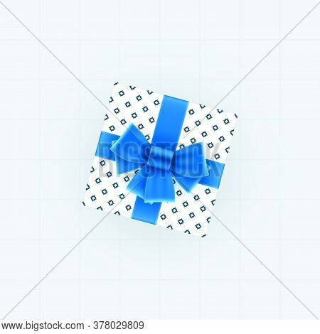 Top View Of Gift Box With Blue Bow And Ribbons. Spotted Gift Box Vector Template.