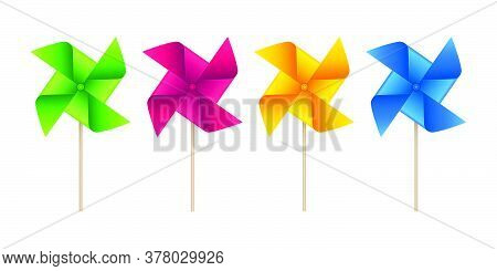 Pinwheel Vector Icons In Various Colors. Weather Vane Symbols On White Background.