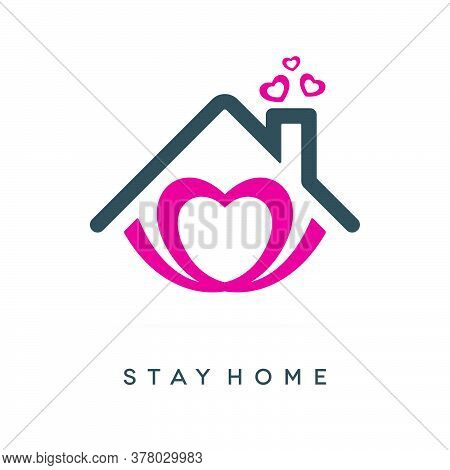 Stay Home Concept Design. Coronavirus Covid-19 Pandemic Social Isolation Icon With Heart And Roof Sh