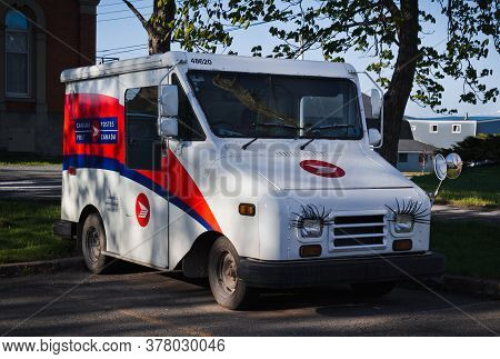Pictou, Canada - May 21, 2017: Canada Post Delivery Truck. Canada Post Corporation Is Canada's Main