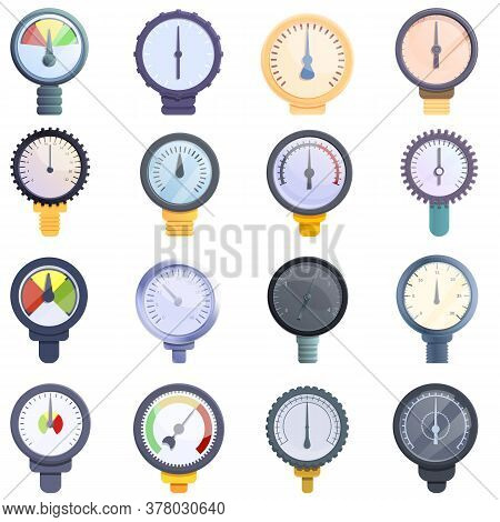 Manometer Icons Set. Cartoon Set Of Manometer Vector Icons For Web Design