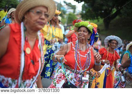 Salvador, Bahia / Brazil - January 24, 2016: Members Of The Lindomar Axe Cultural Group Are Seen Dur