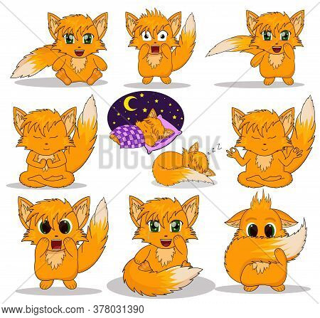 Vector Illustration Anime Fox. Stickers Emotions Fox