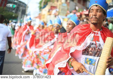 Salvador, Bahia / Brazil - January 24, 2016: Members Of Congo, Reinado And Cheganca Cultural Group,