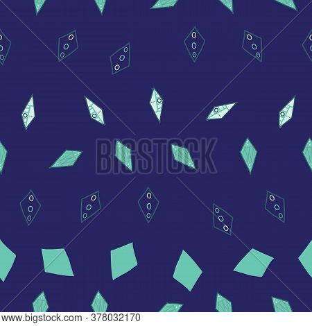 Staggerd Teal Kites Shapes Scattered In Rows On Blue Background Seamless Pattern Vector Hand Drawn D
