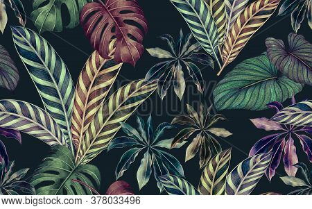 Watercolor Painting Colorful Tropical Leaf,green Leave Seamless Pattern  Dark Background.watercolor