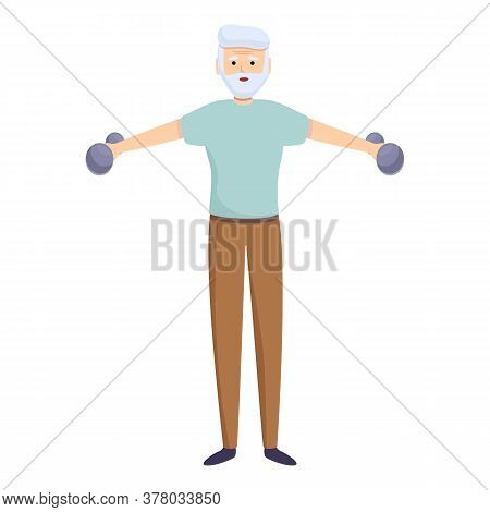 Strong Senior Workout Icon. Cartoon Of Strong Senior Workout Vector Icon For Web Design Isolated On