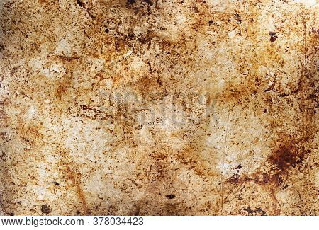 Metal Background With Oil Stains, Dirty Oven Baking Tray