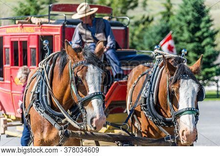Cache Creek, British Columbia / Canada - 06/22/2015 Historic Hat Creek Ranch With Restaurant Serving
