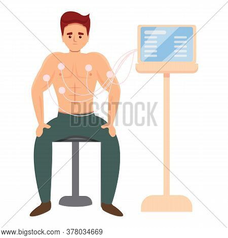 Sport Doctor Cardiology Examination Icon. Cartoon Of Sport Doctor Cardiology Examination Vector Icon