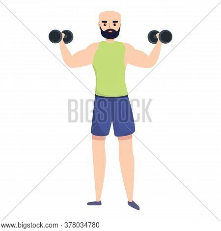 Sportsman Training With Dumbbells Icon. Cartoon Of Sportsman Training With Dumbbells Vector Icon For