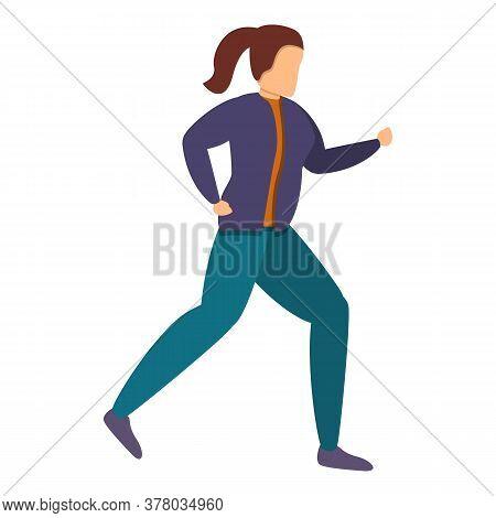 Girl Sport Running Icon. Cartoon Of Girl Sport Running Vector Icon For Web Design Isolated On White