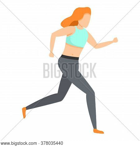 Girl Running In Leggings Icon. Cartoon Of Girl Running In Leggings Vector Icon For Web Design Isolat