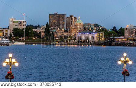 Victoria, British Columbia / Canada - 06/23/2015 British Columbia Parliament Buildings At Dusk.