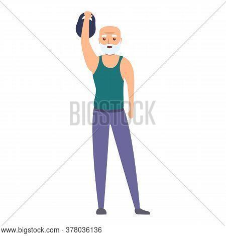 Senior Man Lift Kettlebell Icon. Cartoon Of Senior Man Lift Kettlebell Vector Icon For Web Design Is