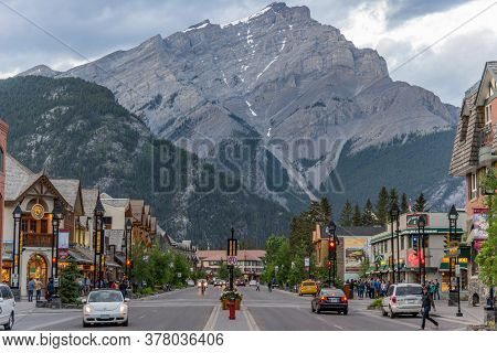 Banff, Alberta / Canada - 06/19/2015 Banff Is A Gateway To Sulpher Mountain And A Must See For Touri