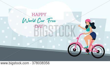 World Car Free Day Illustration Vector. World Car Free Day Banner Vector