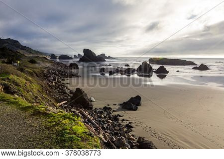 Beautiful Vista From A Road Side Pullout Of A Very Recognizable Beach With Interesting Rock Features