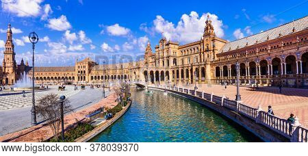 Famous landmarks of Andalusia, Spain - beautiful Seville town, Plaza de Espana (Spain Square)