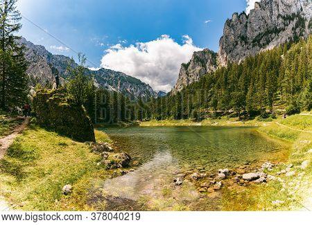 Tragoess, Styria, Austria - 12.07.2020 A Beautiful Lake Called Green Lake, Gruner See. Tourist Spot