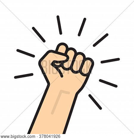 Fist Hand Up. Concept Of Freedom, Solidarity, Uprising. Vector Illustration Isolated On White Backgr