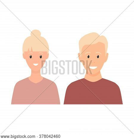 Happy Young Man And Woman Standing Together. Lovely Mature Couple. Blond Family Flat Illustration. S