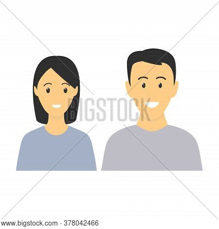 Happy Young Man And Woman Standing Together. Lovely Mature Couple. Family Flat Illustration. Sister