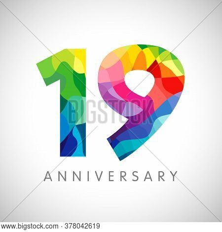 19th Anniversary Numbers. 19 Years Old Logotype. Bright Congrats. Isolated Abstract Graphic Design T