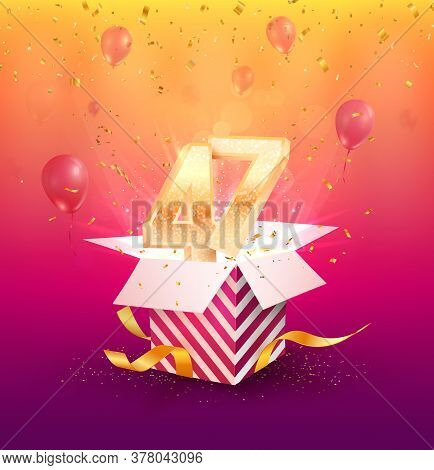 47th Years Anniversary Vector Design Element. Isolated Forty-seven Years Jubilee With Gift Box, Ball