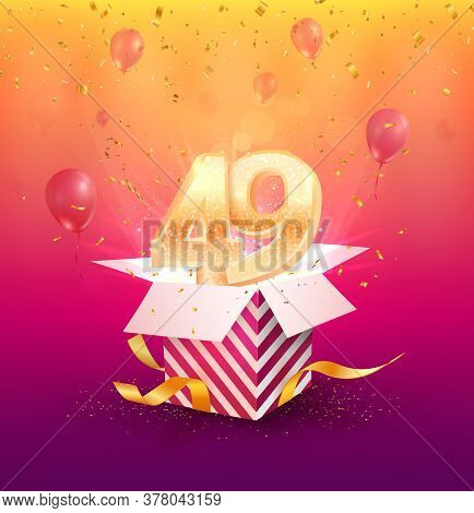 49th Years Anniversary Vector Design Element. Isolated Forty-nine Years Jubilee With Gift Box, Ballo