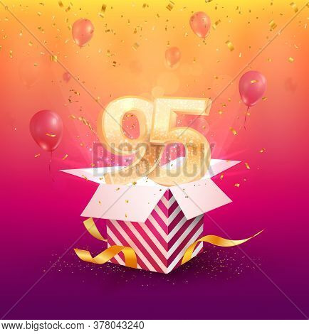 95th Years Anniversary Vector Design Element. Isolated Ninety-five Years Jubilee With Gift Box, Ball