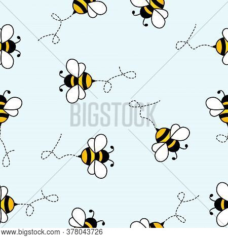 Seamless Pattern With Flying Bees With Dotted Lines. Vector Cartoon Black And Yellow Bees Isolated O