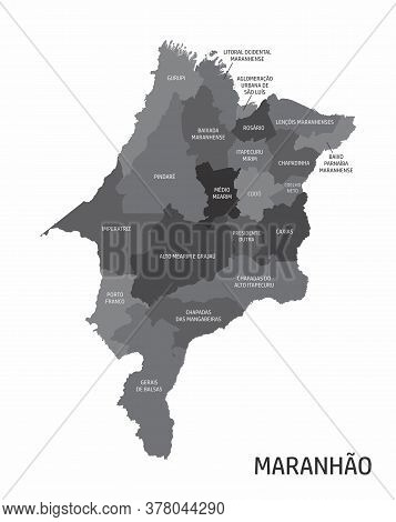 The Maranhao State Regions Map With Labels On White Background, Brazil