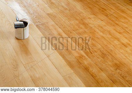 Restore A Hardwood Floor, Sanding And Staining Wooden Floor In A Room, Uk