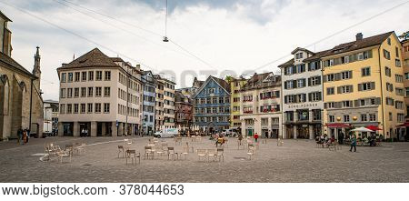 Market Square In The Historic District Of Zurich In Switzerland - Zurich, Switzerland - July 15, 202