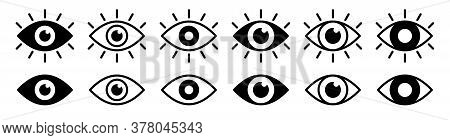 Eye Icon Set. Eyesight Symbol. Retina Scan Eye Icons. Simple Eyes Collection. Eye Silhouette. Vector