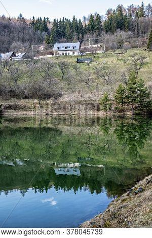 Water Reservoir Klinger In Stiavnica Mountains, Slovak Republic. Seasonal Natural Scene. Hiking Them