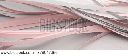Abstract white and pink color strip wave paper horizontal background.