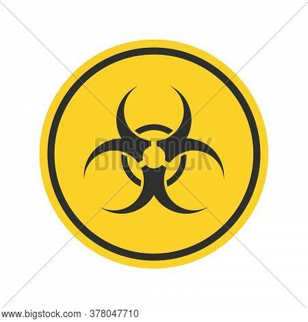 Radiation Toxic Sign. Symbol Of Warning Toxic In A Black Frame On Yellow Background.