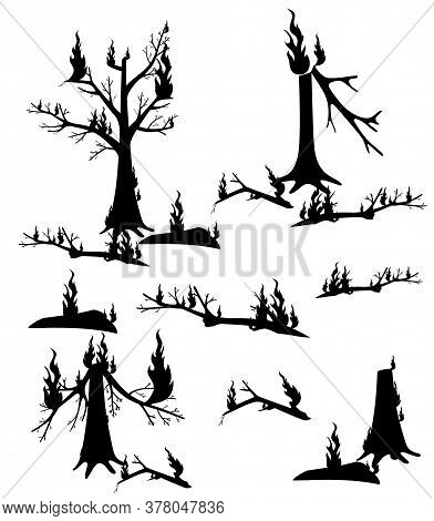 Vector Illustration Of Silhouettes Of Burnt Firewood. Burnt Forest