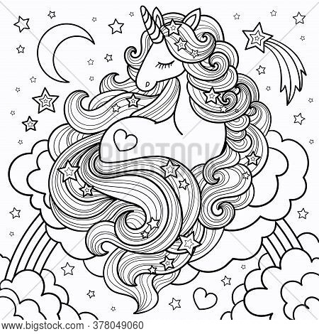 A Beautiful Unicorn With A Long Mane Lying On The Clouds And Rainbow. Vector Illustration For Colori