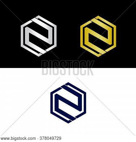 Letter N Logo Design, N Logo, Golden Letter N, Silver Letter N