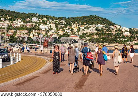 Walking Along The Seafront Of Nice At The Cote D Azur - Nice, France - July 10, 2020