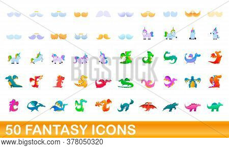 50 Fantasy Icons Set. Cartoon Illustration Of 50 Fantasy Icons Vector Set Isolated On White Backgrou