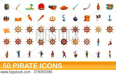 50 Pirate Icons Set. Cartoon Illustration Of 50 Pirate Icons Vector Set Isolated On White Background