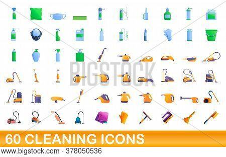 60 Cleaning Icons Set. Cartoon Illustration Of 60 Cleaning Icons Vector Set Isolated On White Backgr