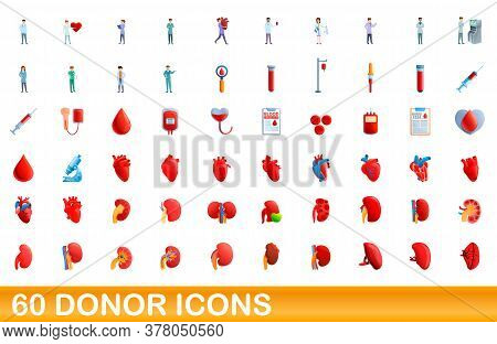 60 Donor Icons Set. Cartoon Illustration Of 60 Donor Icons Vector Set Isolated On White Background