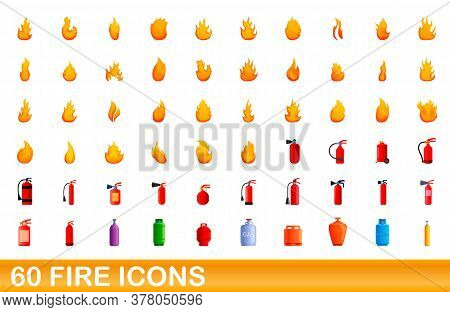 60 Fire Icons Set. Cartoon Illustration Of 60 Fire Icons Vector Set Isolated On White Background